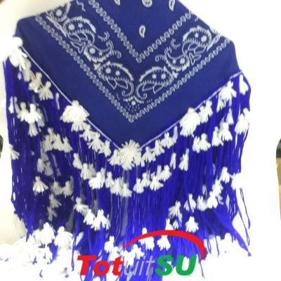 blauwe schouderdoek